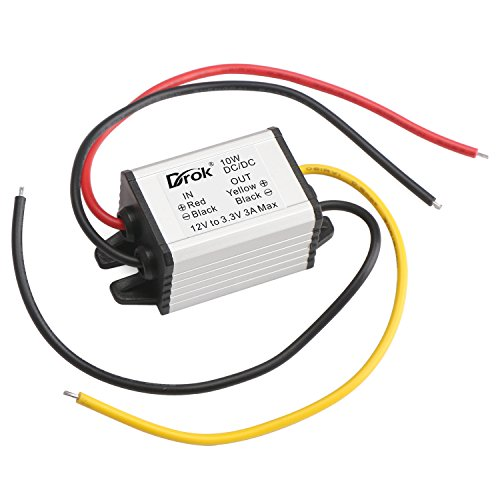 DROK 090601 Waterproof Auto Vehicle Voltage Reducer DC-DC Buck Converter 12V to 3.3V Step-down Voltage Regulator Transformer 3A/10W Power Supply Module for Car Radio LED Display