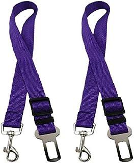 2 Pack Adjustable Pet Dog Cat Seat Belt Safety Leads Vehicle Car Harness Seat Tether,Nylon Fabric- Black,Blue, Purple (2X ...