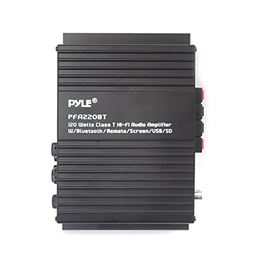 Pyle Class-T Bluetooth Power Audio Amplifier - 120W Mini Dual Channel Sound Stereo Receiver Box w/ USB, RCA, 12V Adapter - For Subwoofer Speaker, Home Theater, PA System, Studio Use - Pyle PFA220BT