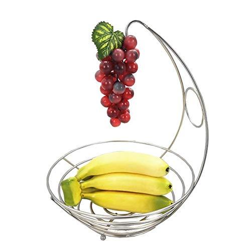 Toruiwa Obstkorb mit Bananenhalter, Obstschale Früchtekorb aus Metall, für Bananen Trauben Obst Brot Gemüse(Silber)