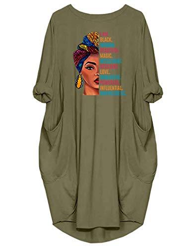 WbJetr Black Woman Beautiful Magic Long Sleeve Loose Pocket Oversize Tunic Dress