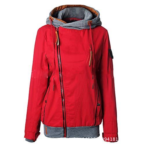 JIER Damen Hoher Kragen Sweatjacke Mit Kapuze Zip-Hood Langarm Kapuzenjacke Hoodie Jacket Sweatshirtjacke Kapuzenpullover Sweatshirt Oberteil (rot,Medium)