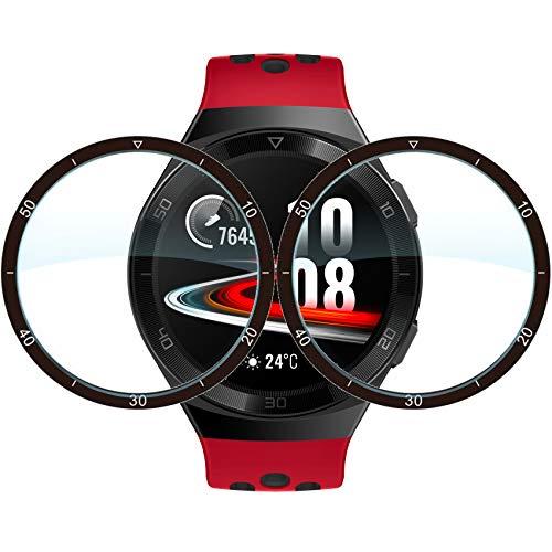 Lebama Schutzfolie für Huawei Watch GT 2e Zubehör Full Cover Bildschirmschutzfolie Bildschirmschutz Curved Clear Flexible Premium Klar Bildschirmfolie - 2 x Bildschirm Folie für Huawei Watch GT 2e