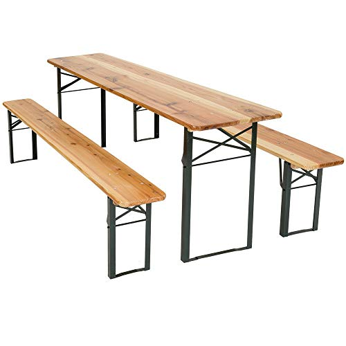 Cruise Tech West Wood Outdoor Wood Wooden Vintage Folding Beer Table Bench Set Trestle Party Picnic Pub Garden Furniture Steel Leg