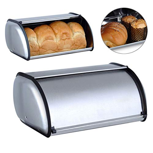 BBA SUNRISE  Stainless Steel Bread Box Quality Metal Stainless Steel Bread Bin Roll Top Large 13x9x6 Kitchen Counter Storage and Organization Ideal To Store Brownies Cookies Loaves of Bread