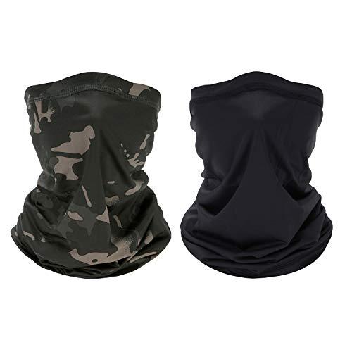 Bandana Stirnband, Multifunktionale Sonnen-UV-Schutz-Sturmhaube, elastische Kopfbedeckung, atmungsaktives Snood, für Camping, Laufen, Motorradfahren (Schwarz + Schwarze Tarnung)