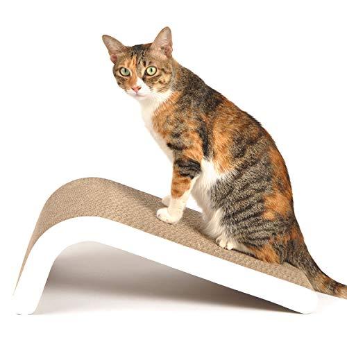 LIKEA Kratzbrett für Katzen mit Katzenminze, Qualitäts-Pappe und Konstruktion Kratzmöbel, mehrere Kratzwinkel, 45 x 25 x 19 cm
