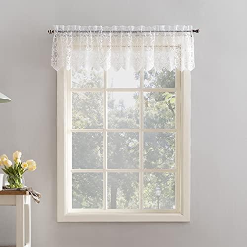 "No. 918 Joy Macrame Lace Trim Semi-Sheer Rod Pocket Kitchen Curtain Valance, 60"" x 15"", White"