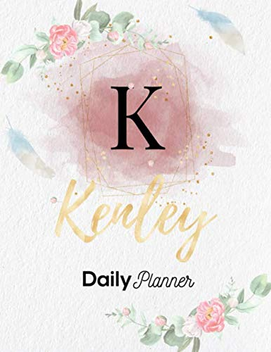 Kenley Daily Planner: Personalized Undated Diary / Notebooks / Journals with Initial Name and Monogram for Girls and Women. Perfect Gifts for Her as a ... Pink Watercolor Floral and Gold Lettering.