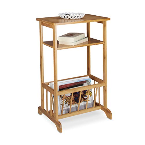 Relaxdays Side Table with Newspaper Basket, Bamboo, Robust, 2 Shelves, HxWxD: 71.5 x 44.5 x 37 cm, Natural Brown