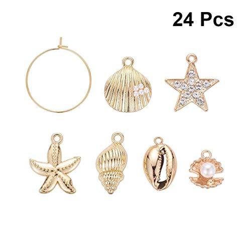 Milisten 24 Piezas Encantos de Conchas Marinas Naturales Concha de Perlas con Aro de Acero Inoxidable para Pendientes Artesanales de Bricolaje Joyería Que Hace Adornos Náuticos
