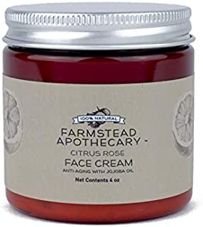 Farmstead Apothecary 100% Natural Anti-Aging Face Cream with Jojoba Oil, Citrus Rose 4 oz