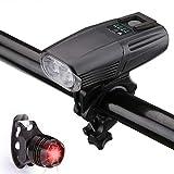 IQQI Recargable 2 De Luz LED USB Bicicletas, IP65 Resistente Al Agua 1.000 Lúmenes De La Linterna De La Bicicleta con El Sensor Y La Cola De La Bici Light Set - para Los Viajeros