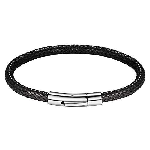 FOCALOOK 5mm 18cm Cordón Trenzado Cadena Encerada Pulsera Flexible para Hombre y Mujer Broche de Acero Inoxidable Joyerías Modernas para Manos Regalo de Cumpleaños