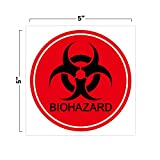"""Biohazard Warning Stickers (Pack of 10) 5"""" Round Red Biohazard Stickers Signs Decals for Labs, Hospitals, and Industrial Use"""