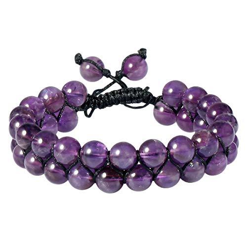 SUNYIK 8mm Round Amethyst Adjustable Bracelet for Unisex, Double Layers Beads Macrame Friendship Bracelets, 7'-10' Strand