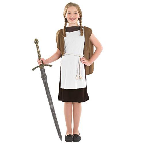 Fun Shack Braunes Wikinger Kostüm für Mädchen, Halloween und Karneval - M