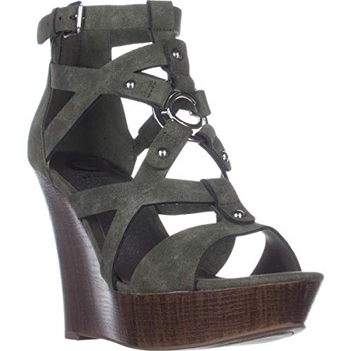 G By Guess Womens Dodge Open Toe Casual Platform Sandals, Green, Size 5.5