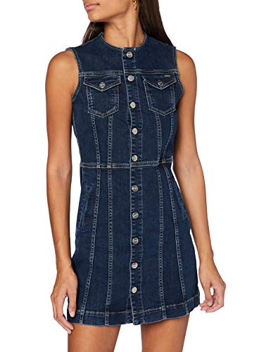 Pepe Jeans Linea Vestido Casual, Azul (Denim 000), Medium para Mujer