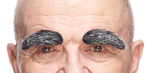 Mustaches Selbstklebende Neuheit Fälscher Augenbrauen Black with für Erwachsene Grauer Farbe