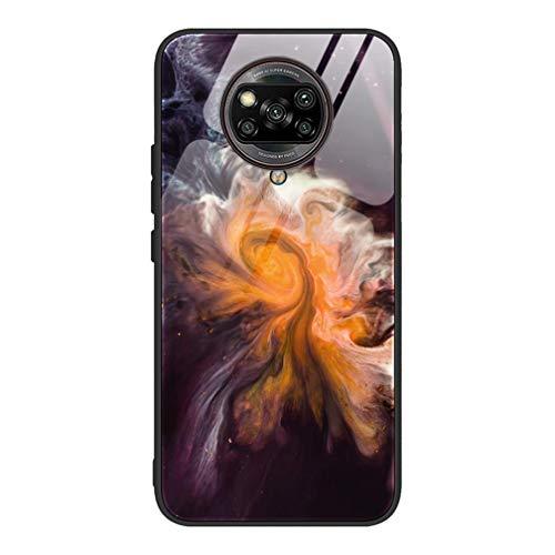 HAOTIAN Hülle für Xiaomi Poco X3 NFC Hülle, Marmor Textur-Glas Back Cover Handyhülle, Ultra Thin Tasche Cover TPU Silikon Grenze Shock Absorption Stoßfest Case Schutzhülle(1)