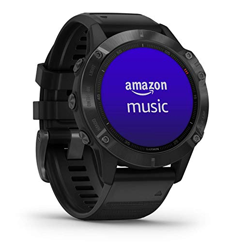 Garmin Fenix 6 Pro, reloj GPS multideporte definitivo, funciones de mapeo, música, monitoreo de ritmo ajustado por grado y sensores de pulso, negro con banda negra