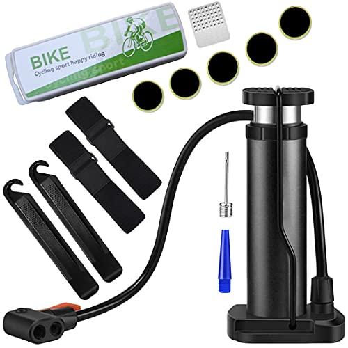 T WILKER Bomba de Aire Bicicleta, Bomba de Pie Portátil de 160 PSI para Válvula Presta Schrader y Válvula Dunlop con Juego de Herramientas de Reparación de Neumáticos con Aguja de Bola (Negro)