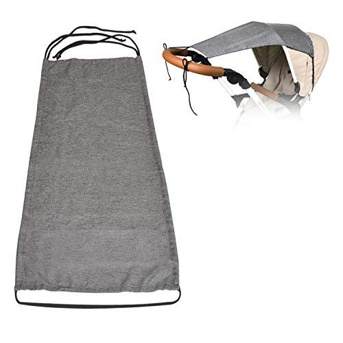 Toldo/Protección solar universal para cochecitos, capazos y sillas de paseo | Parasol flexible con protección UV 50+ y función de persiana enrollable - Gris