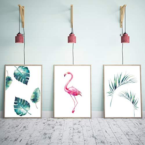Papierschmiede® Premium Motiv-Set   Stilvolles Poster-Set als Wand-Deko für den Bilderrahmen   3er-Set à DIN A3   Motiv: Flamingo Aquarell