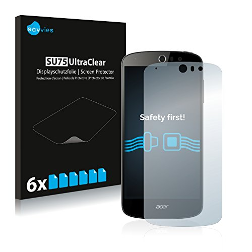 Savvies 6X Schutzfolie kompatibel mit Acer Liquid Z530 Bildschirmschutz-Folie Ultra-transparent