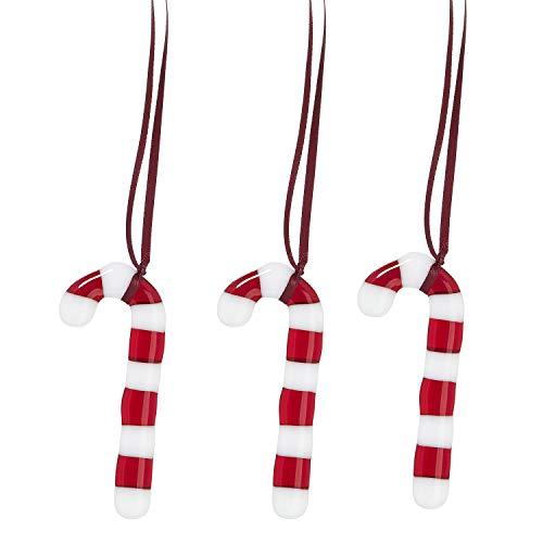 NIELGAARD   Rot-weiße Zuckerstangen aus Glas   Weihnachtsbaum Deko zum Aufhängen   Dänische Christbaum-Anhänger   Handgemachte Weihnachtsdekoration   3 STK.