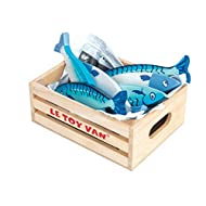 Le Toy Van Honeybake Collection Fresh Fish Crate Set Premium Wooden Toys for Kids Ages 3 Years & Up