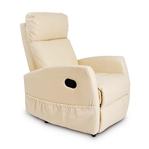 Cecotec Sillón Relax de Masaje Compact Beige. Función Calor, 5 Programas, 3 Intensidades, 8 Motores, Mando de Control, Bolsillo portaobjetos, Polipiel