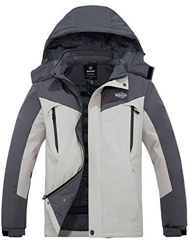 Wantdo Men's Snowboarding Jacket Hooded Ski Coat Windproof Rainwear Grey L