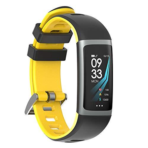 NUNGBE Braccialetto Intelligente, Fitness Tracker, Orologio con frequenza cardiaca, Pressione sanguigna, Ossigeno, Monitor, per iOS Android-Giallo
