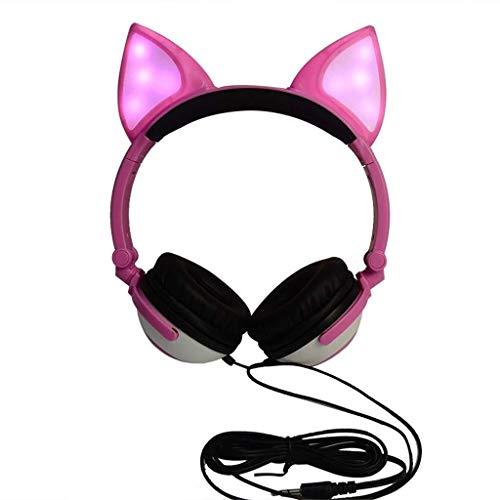 KK Zachary Auricular For Juegos Plegable Intermitente Que Brilla Auriculares Gaming Headset Auricular con Luz LED For El Teléfono Móvil, Tablet PC, Portátil (Negro) (Color : Pink)