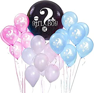 Gender Reveal Party Balloons 36 Inch Black Confetti Balloon Baby Reveal Balloon for Baby Shower Party Decor