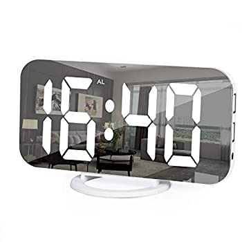 Digital Alarm Clock 6  Large Mirror Surface LED Clocks with Dual USB Charger Ports Auto/Custom Brightness,Easy Snooze Function Alarm Clocks for Bedrooms Nightstand  White
