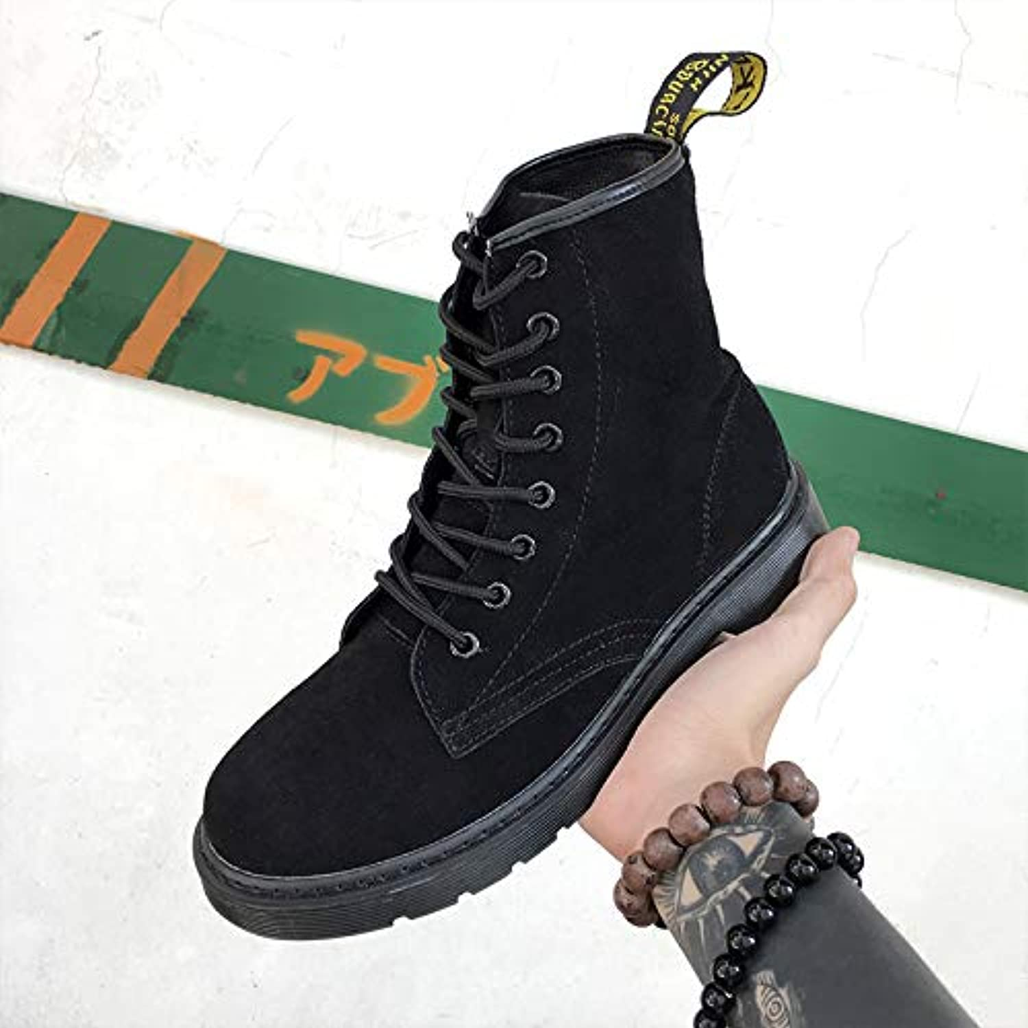 ZyuQ Ankle boots Martin Boots Men'S Booties In The Summer To Help Boots Men'S High-Cut Tooling Boots Autumn Martin shoes Men'S Black