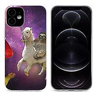 アルパカに乗って面白いナマケモノ ペンケ Sloth iPhone 12&iPhone 12 Pro&iPhone 12Pro Max&iPhone 12 miniと互換性のあるクリスタルクリアTPUケース、アンチイエロー、保護耐衝撃落下保護ケース