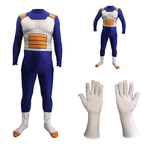 Nobranded Unisex Dragon Ball Z Super Sayer Begita Disfraz de Cuerpo Completo Disfraces de Halloween para Hombres Adultos Niños Niños Ropa Muscular