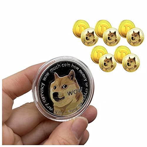 Moneda conmemorativa de 5 piezas Dogecoin Moneda doge chapada en oro Moneda coleccionable de edición limitada con estuche protector, colección de regalos, productos para coleccionar monedas de hobby