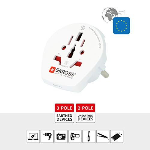 SKROSS Country Adapter World to Europe: Reiseadapter für Reisen in Länder, die den Schuko-Standard verwenden