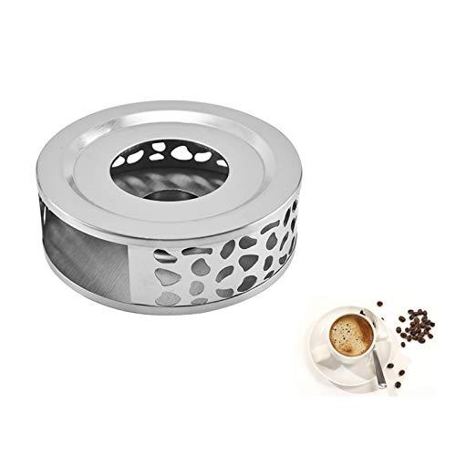 Teekanne Stövchen Glastal Stövchen Tee Stövchen aus Edelstahl Silber Tee Untersetzer Wärmer Teekannenwärmer Rund Schlichtes Tee Stövchen zum Erhitzen von Tee Milch Kaffee Heißen Getränken 1 Stück Set