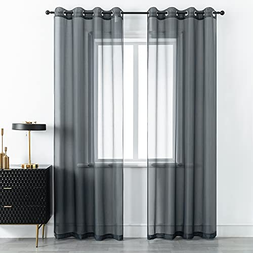 DUALIFE Grey Voile Sheer Curtains Grommet,Look Semi Sheer Windows Panels,Elegant Solid Color Touch Soft Drapes, 52X96 Inch for Living Room Bedroom,Set of 2 Panels