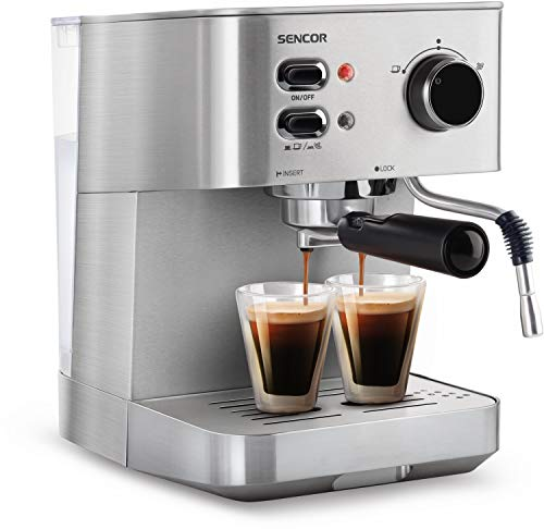 SENCOR SES 4010SS ekspres do kawy (1050 W, espresso, cappuccino, pompa ciśnieniowa 15 bar, kotł, obudowa ze stali nierdzewnej), srebrny