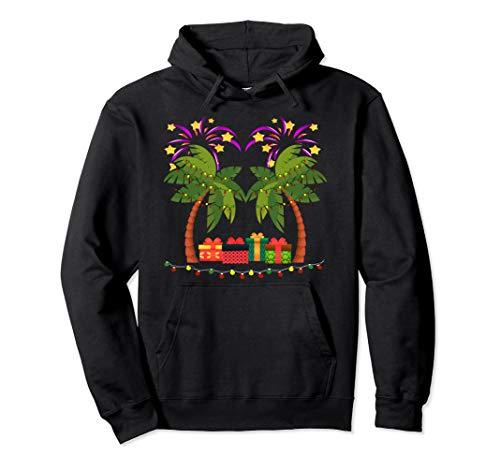 Weihnachtspalme mit Geschenken und Urlaubsleuchten Pullover Hoodie