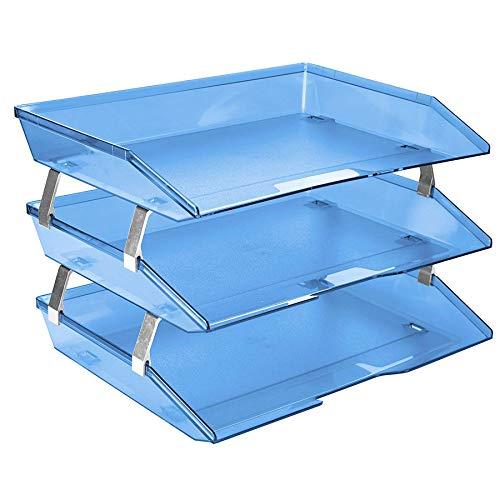 Acrimet Facility Organizzatore di Documenti in Plastica a 3 Ripiani Laterale Vaschetta A4 Portadocumenti per Ufficio (Blu Trasparente)