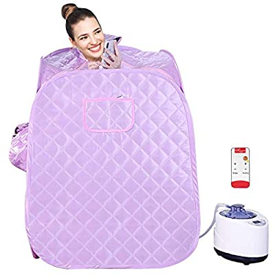KKTECT Portable Steam Sauna Spa, Household Sauna Tent for 1-2 Person, 2.2L Foldable Home Sauna for Weight Loss/Detox/Relaxation, 60min/95min Timer with 1000w Fumigation Machine