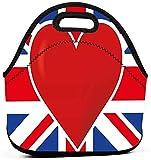 XCNGG Bandera británica con una bolsa de almuerzo de neopreno de gran corazón rojo, bolsa de almuerzo térmica con aislamiento reutilizable, bolsa de almuerzo portátil con refrigerador para el trabajo